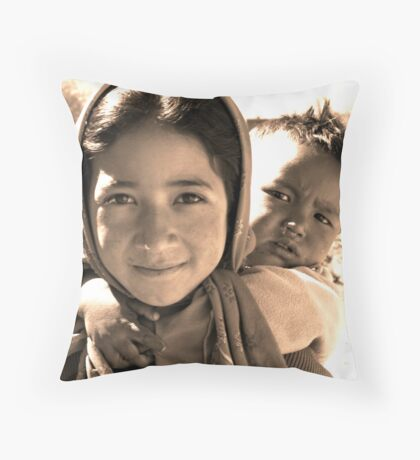 Caring for her Sister Throw Pillow