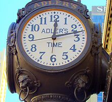 Huge Clock Outside of Adler's  by Wanda Raines