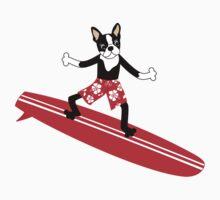 Boston Terrier Surfer Kids Tee