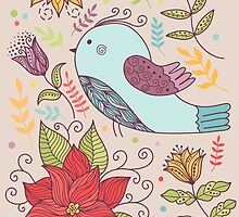 Colourful illustration with bird, flowers by OkPen