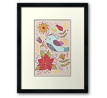 Colourful illustration with bird, flowers Framed Print