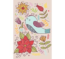 Colourful illustration with bird, flowers Photographic Print