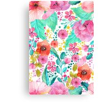 Colorful Watercolors Flowers Collage Pattern Canvas Print