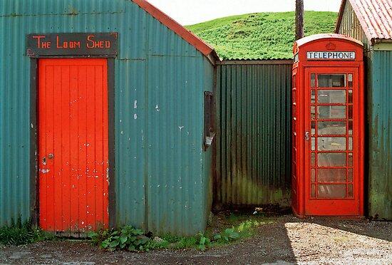 Loom Shed & Telephone Box, Skye, Scotland, UK. by David A. L. Davies