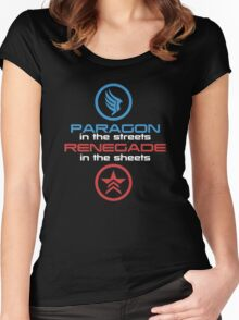 Mass Effect: Paragon in the Streets, Renegade in the Sheets - White Font Women's Fitted Scoop T-Shirt
