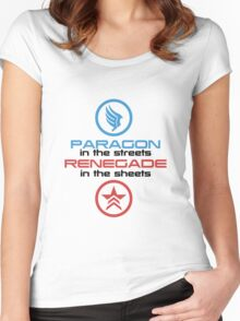Mass Effect: Paragon in the Streets, Renegade in the Sheets - Black Font Women's Fitted Scoop T-Shirt