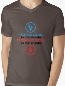 Mass Effect: Paragon in the Streets, Renegade in the Sheets - Black Font Mens V-Neck T-Shirt