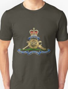 Royal Regiment of Canadian Artillery - RCA Badge over Waving Flag T-Shirt