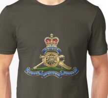 Royal Regiment of Canadian Artillery - RCA Badge over Waving Flag Unisex T-Shirt