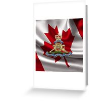 Royal Regiment of Canadian Artillery - RCA Badge over Waving Flag Greeting Card