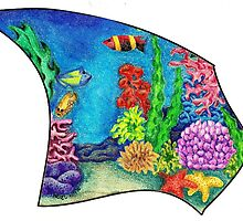 """Life on the Reef - My piece for the Collaboration:  """"Hands across the Water - 11 Artists, 1 piece"""" by Picatso"""
