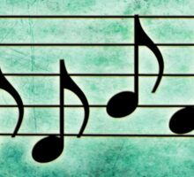 DRUMS - Words in Music Teal Green Background - V-Note Creations Sticker