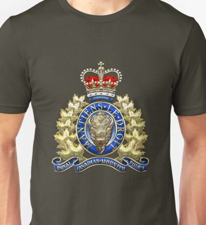 Royal Canadian Mounted Police - RCMP Badge over Waving Flag Unisex T-Shirt