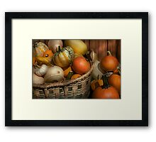 Autumn - Pumpkins in a basket Framed Print