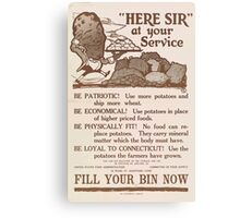 United States Department of Agriculture Poster 0197 Here Sir At Your Service Patriotic Potatoes Economical Fitness Canvas Print
