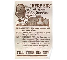 United States Department of Agriculture Poster 0197 Here Sir At Your Service Patriotic Potatoes Economical Fitness Poster