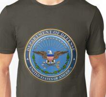 U.S. Department of Defense - DOD Emblem over U.S. Flag Unisex T-Shirt