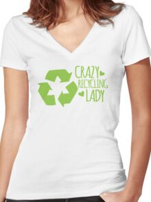 Crazy Recycling Lady Women's Fitted V-Neck T-Shirt