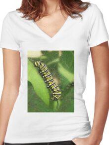 Monarch Caterpillar - Sunset Relaxing Women's Fitted V-Neck T-Shirt