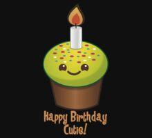 Happy Birthday Cutie with cute little cupcake Kawaii smiling Kids Tee