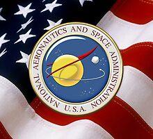 NASA Emblem over American Flag by Serge Averbukh