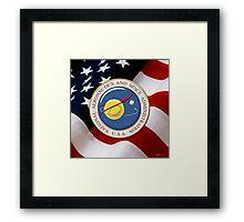 NASA Emblem over American Flag Framed Print
