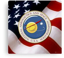 NASA Emblem over American Flag Canvas Print