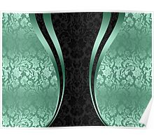 Mint And Black Damasks With Dynamic Stripes Poster
