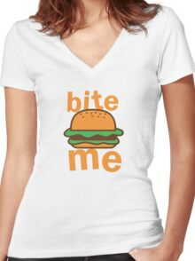 Bite me with cute hamburger Women's Fitted V-Neck T-Shirt