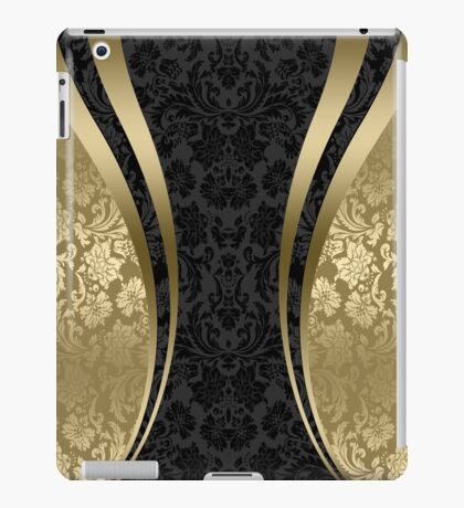 Black And Gold Damasks And geometric Stripes iPad Case/Skin