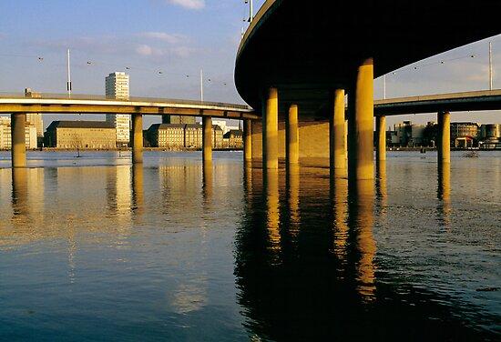 High water on the Rhine, Düsseldorf, Germany, 1980s by David A. L. Davies