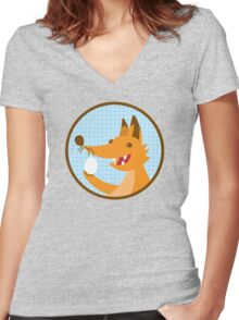 Cute little foxee with an egg Women's Fitted V-Neck T-Shirt