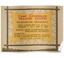 WPA United States Government Work Project Administration Poster 0591 Camp Counselor Training Course Washington University Poster