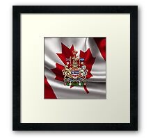 Canada Coat of Arms over Canadian Flag Framed Print