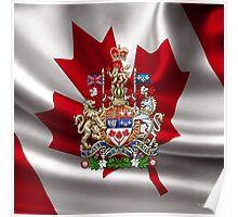 Canada Coat of Arms over Canadian Flag Poster