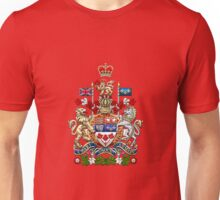 Canada Coat of Arms over Canadian Flag Unisex T-Shirt