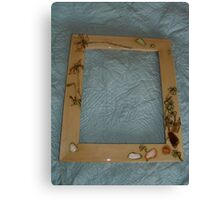 clover woodburned and seashell frame Canvas Print