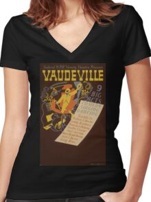WPA United States Government Work Project Administration Poster 0620 Vaudeville 9 Big Acts Women's Fitted V-Neck T-Shirt