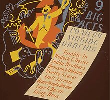 WPA United States Government Work Project Administration Poster 0620 Vaudeville 9 Big Acts by wetdryvac