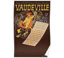WPA United States Government Work Project Administration Poster 0620 Vaudeville 9 Big Acts Poster