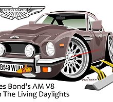 James Bond Aston Martin AM V8 caricature by car2oonz