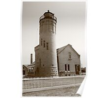 Lighthouse - Mackinac Point, Michigan in Sepia Poster