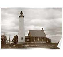 Lighthouse - Tawas Point, Michigan in Sepia Poster