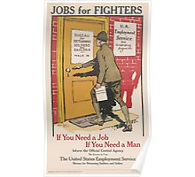 United States Department of Agriculture Poster 0125 Jobs for Fighters Need Job Man Returning Soldiers Sailors Employment Poster