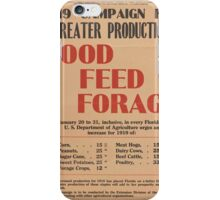 United States Department of Agriculture Poster 0064 Greater Production Food Feed Forage iPhone Case/Skin