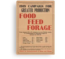 United States Department of Agriculture Poster 0064 Greater Production Food Feed Forage Canvas Print