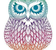 Long Eared Owl - Rainbow by Catie Atkinson