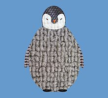 Cute Baby Penguin Fabric Collage by Fiona Reeves