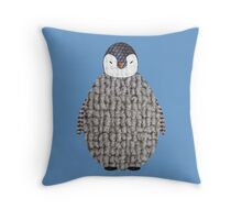 Cute Baby Penguin Fabric Collage Throw Pillow