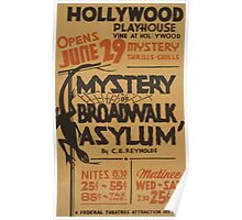 WPA United States Government Work Project Administration Poster 0468 Hollywood Playhouse Mystery of Boardwalk Asylum  Poster